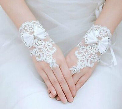 White Bridal Wedding Lace Fingerless Gloves Bow Wrist Length Rhinestone Accents