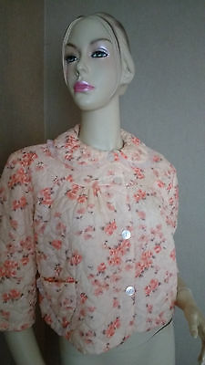 VINTAGE 1960s QUILTED BED JACKET PEACH FLORALS SIZE W