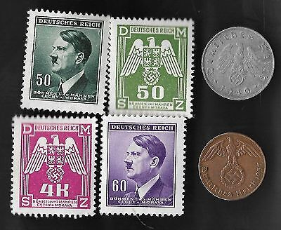 Rare Very Old Vintage WWII Nazi Germany Coin Stamp German Collection WW2 War Lot