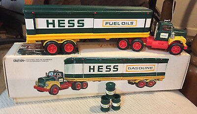 70's Vintage Hess Fuels Oil Tracker Trailer with labeled drums