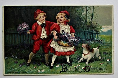 Pretty CHILDREN in Red VIOLETS Birthday Greeting PUPPY DOG Embossed Postcard