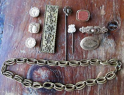 Antique Victorian Era Jewelry LOT-Some As Found/Remake/Rework/Recreate Lot