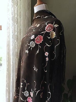 Antique Piano Shawl Cocoa Floral Embroidered Silk Black Fringe Vintage 20s 1900s