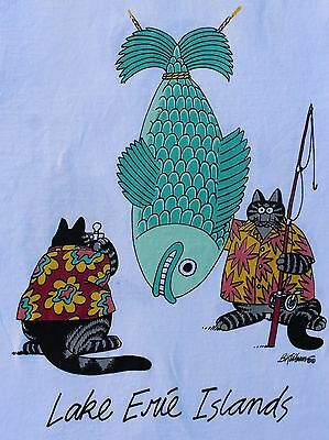 Vintage 70's Crazy Shirt Lake Erie Islands Cartoon Cat T Shirt