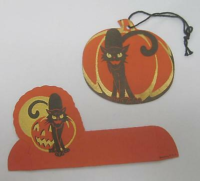 Early Dennison Tally and Place Card Set Black Cat Gold Eyes Jack O'Lantern unusd