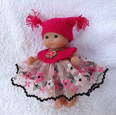 Hat And Dress Set For A 5 Inch Berenguer  Doll Or Similar
