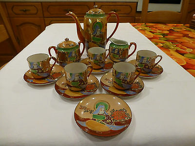 Vintage Hand Painted Genuine Samurai Tea Set, Made In China Not Complete