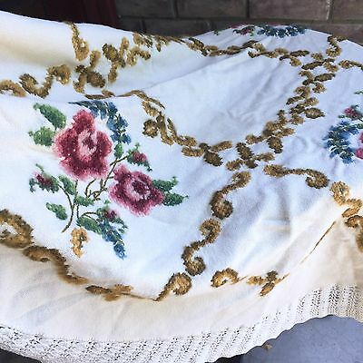Antique Wool Shawl Embroidered Roses Round Table Cover Victorian 1800s Floral