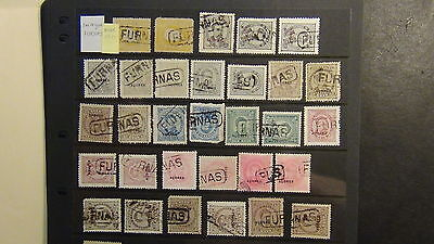 Azores Stamp collection on black stock sheets ~ specialized city postmarks