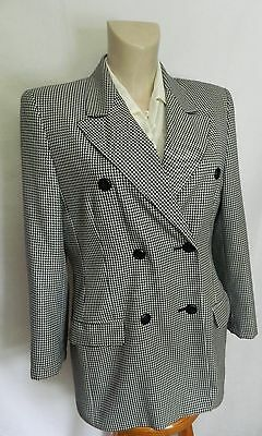 M & S ST MICHAEL VINTAGE Navy Blue  BLAZER JACKET check double breasted C778