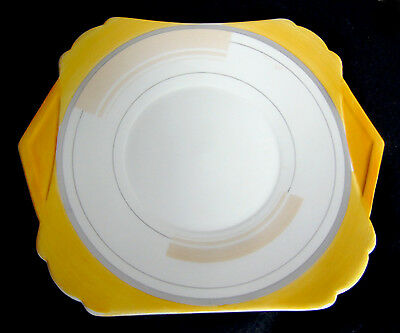 """1930s Shelley Art Deco """"Vogue"""" (W.12130) Cake Plate - Square with Side Handles"""