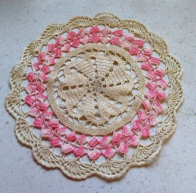 Ecru and Pink Squares Border HANDMADE DOILY Vintage 1970s Collectible Home Decor