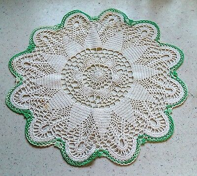 White With Green Border HANDMADE DOILY Vintage 1970's Collectible Home Decor