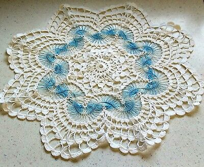White With Blue Center HANDMADE DOILY Vintage 1970's Collectible Home Decor