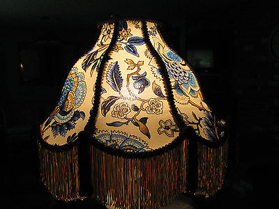 "Victorian French Large Floor Table Lamp Shade Poppy  ""Bleu""  Fringe Tassels"