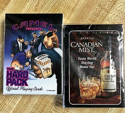 CANADIAN MIST And CAMEL PLAYING CARDS Set Of 2 Sealed NIB From 1990' Advertising