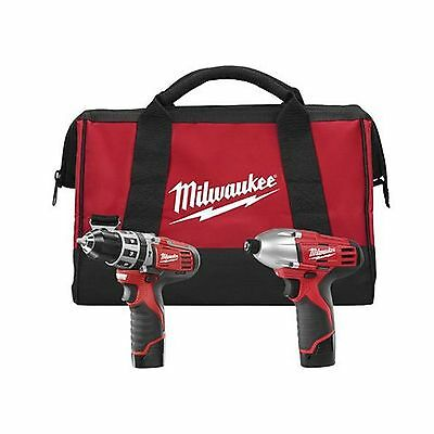 Milwaukee 2497-22 M12 12-Volt Cordless Lithium-Ion 2-Tool Combo Kit Hammer Dr...