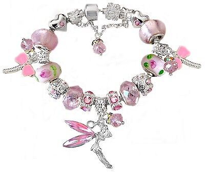 Girls Pink Tinkerbell Fairy Faceted Glass Crystal Beads European Charm Bracelet