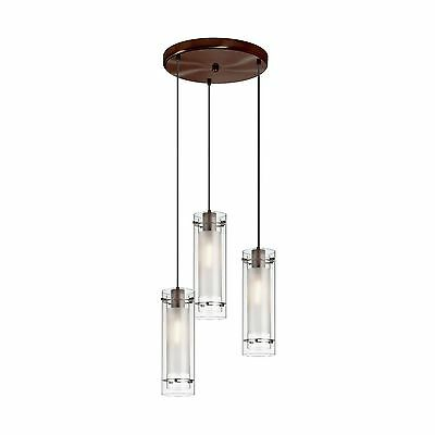 Dainolite 12153R-CF-OBB 3-Light Pendant-Round Canopy Clear Glass/Frosted Inse...