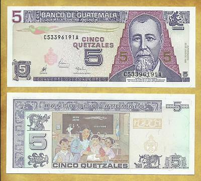 Guatemala 5 Quetzales 1998 Unc Currency Banknote P-100 ***USA SELLER***