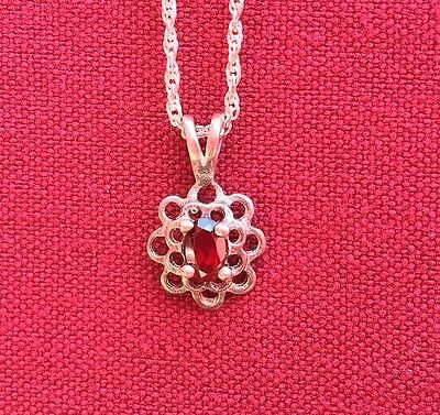 10 K White Gold Pendant/Charm with Garnet on Sterling Silver Chain