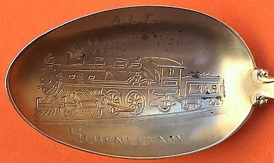 Rare Railroad Locomotive Schenectady New York Sterling Silver Souvenir Spoon