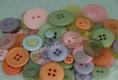 100 PASTEL Mixed Sized New Buttons - Great for Sewing Craft Scrapbooking & more