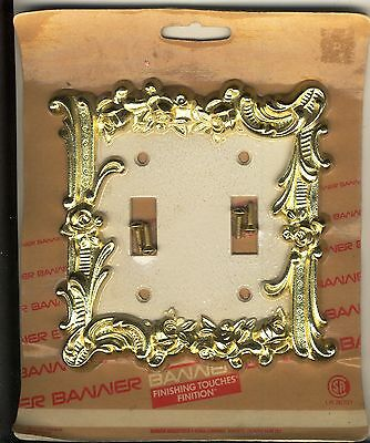 1  New Old Stock  Vintage Brass Amerock Carriage House  2 Gang Switch Plate