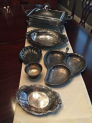 Lot of 7 silver plated serving pieces - including covered casserole