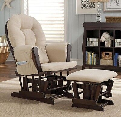 New - Glider Rocker Ottoman Set Chair Baby Wood Furniture Rocking Seat Nursing
