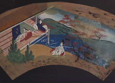 Orig Japanese Hand-Painted Fan Genji Scene c1780 #2