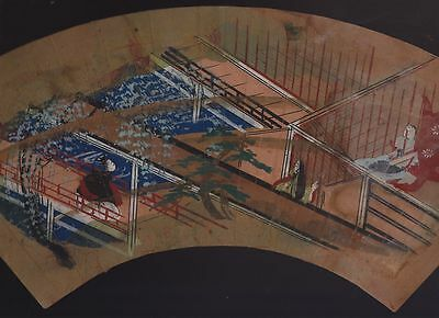 Orig Japanese Hand-Painted Fan Genji Scene c1780 #3