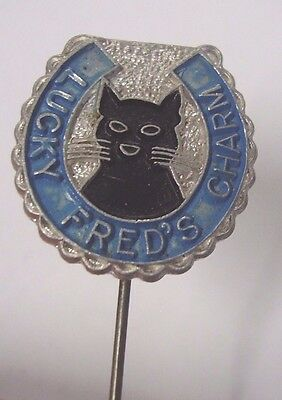 Vintage Lucky Fred's Charm Member Badge Pin Vintage Lotto Syndicate Seller