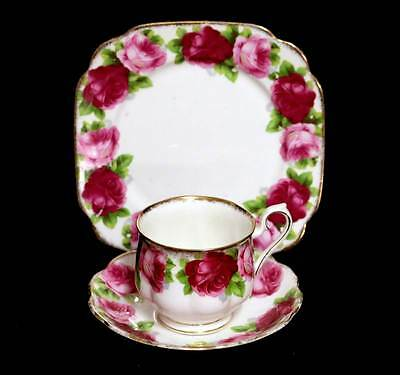 Vintage Royal Albert Old English Rose square tea plate teacup trio set (lt wear)