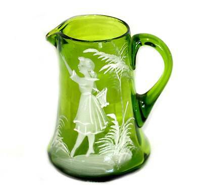Vintage Mary Gregory green glass hand enamelled jug in lovely condition