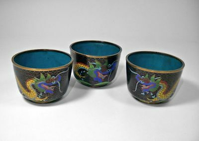 Set of 3 Antique Chinese Cloisonne Five Claw Dragon Cups 19th C Republic Period