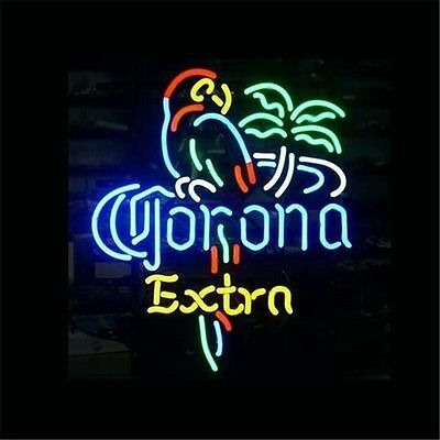 """17""""x14""""CORONA EXTRA PARROT Real Neon Light Sign Display Beer Bar Pub Store Club"""