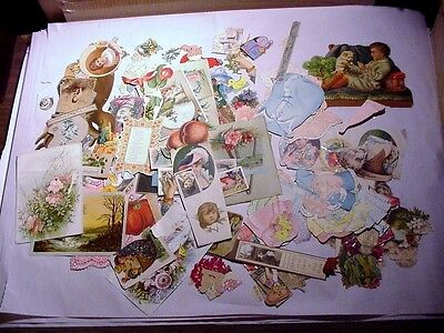 HUGE LOT: Victorian Die Cuts and other items 1890s + or -,    about 130 pieces
