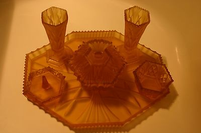 50's  Dressing Table Set Amber Glass