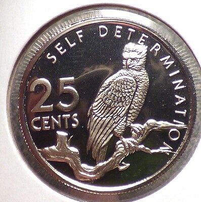 Guyana 25 Cents 1976, Proof Coin w/ Harpy Eagle, World's Largest Raptor, Bird