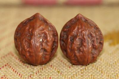 Vintage Chinese Many Years Amber Color Hand Play Wenwan Walnut