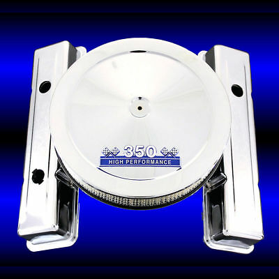 3 Hole Short Valve Covers & Blue 350 Emblem Air Cleaner Combo Chrome Fits Chevy