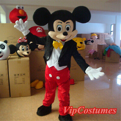 New Professional Mickey Mouse Mascot Costume Fancy Dress Adult Size