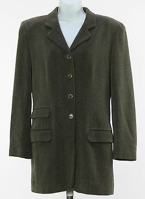 Women's EPISODE Green Cotton Blend Long Sleeve Solid Basic Coat Size 4