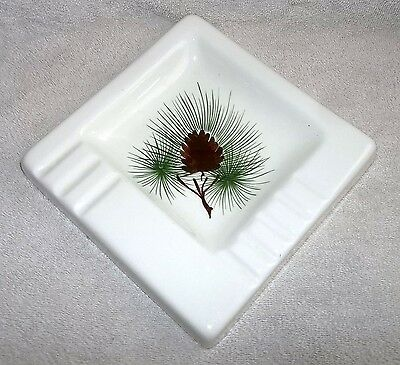 Vintage Art Deco 1930's 40's LOVELAND COLO. Pottery White Pinecone Ashtray