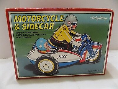 Vintage Schilling Wind Up Tin Toy MOTORCYCLE #605 with SIDECAR Original Box