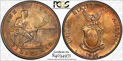 US Philippines 1941-M One Centavo *Lowest Pop 1C* PCGS MS 64 (Pop. 9/4) ~CPPM~
