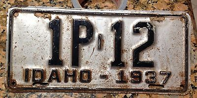 1937 Idaho License Plate LOW NUMBER 1P - 12 - 37 ID Tag