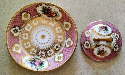 "Dresden Richard Klemm 5-3/4"" Courting Couple Pink  Gold Under-Plate And Lid"
