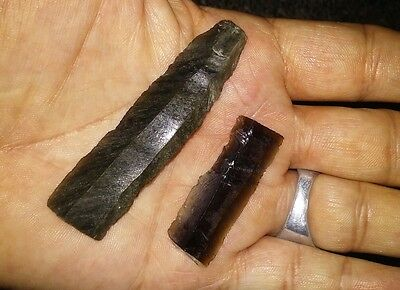 2 GREEN Obsidian Mayan Prismatic Blade PreColumbian Belize AUTHENTIC!